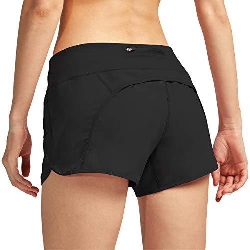 HMIYA Damen Sport Shorts Schnell Trocknend Yoga Kurze Hose mit Reißverschlusstasch für Running Fitness Schwimmen (schwarz S)