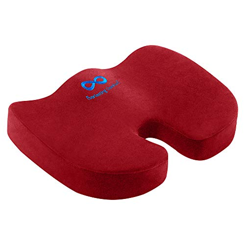 Everlasting Comfort Seat Cushion for Office Chair - Tailbone Pain Relief Cushion - Coccyx Cushion - Sciatica Pillow for Sitting (Red)