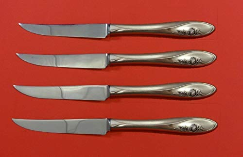 Sculptured Rose by Towle Sterling Silver Steak Knife Set 4pc HHWS Custom 8 12