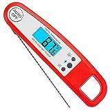 Gesh Herramientas de cocina electrónicas de lectura instantánea digital de alimentos para cocinar al aire libre, barbacoa, termómetro plegable para parrilla, color rojo