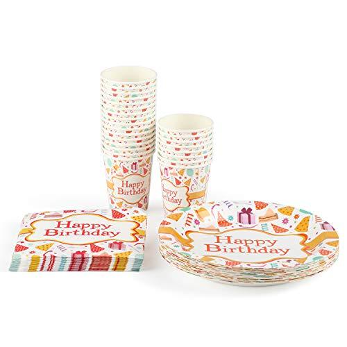Amazon Brand - Umi Stoviglie per feste di Compleanno ,Set di stoviglie di carta Piatti di Carta Usa e Getta da Festa, 72 usa e getta, piatti, bicchieri di carta e tovaglioli (24 Ospiti)