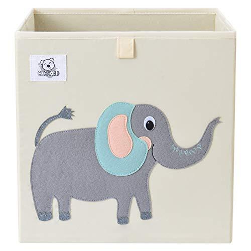 CLCROBD Foldable Animal Cube Storage Bins Fabric Toy Box/Chest/Organizer for Toddler/Kids Nursery, Playroom, 13 inch (Cute Elephant)