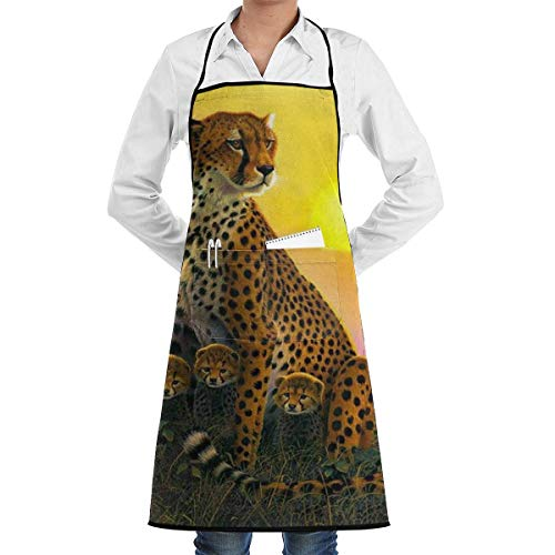 N\A Waterproof Hem Apron with Pocket 52cm 72cm, Unisex Apron Cheetah-and-Cubs