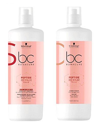 Schwarzkopf Bonacure Peptide Repair Rescue Deep Nourishing Micellar Shampoo 1000ml and Conditioner 1000ml
