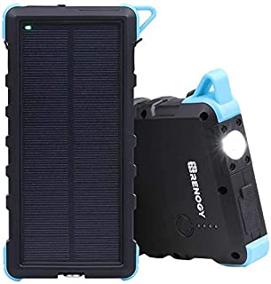 Renogy Solar Phone Charger Power Bank 15000mAh, IP66 Water-Resistant Portable Battery Charger with Dual USB Ports and Outd...