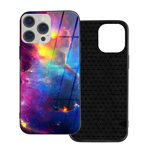 RTBB Iphone 12 Glass Case 3D Rainbow Nebula Galaxy Flexible Soft Tpu Protection Back Toughened Glass Protective Shockproof Cover Cases For Iphone 12/12 Pro/12 Mini/12 Pro Max