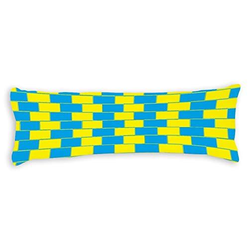 Promini Funda de cojín psicodélico azul y amarillo con cierre de cremallera oculta para sofá, banco, cama, decoración del hogar, 50,8 x 137,1 cm