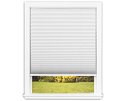 """Easy Lift Trim-at-Home Cordless Pleated Light Blocking Fabric Shade White, 36 in x 64 in, (Fits windows 19""""- 36"""")"""