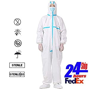 REDESS Disposable Protective Coverall Suit Elastic with Long Front Zipper Waistband & Cuffs Isolation Suit
