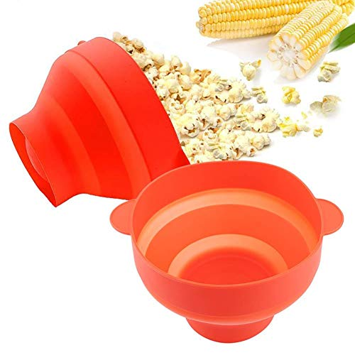 Review Silicone Microwave Bowl with Lid DIY Foldable Making Popcorn for Home Kitchen Party, Red