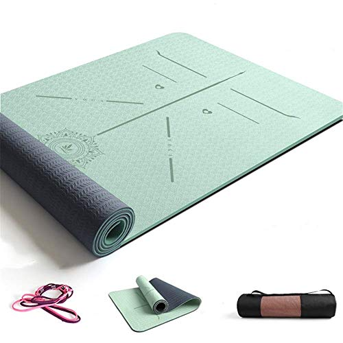 ZBK Yoga-Matte, 8 mm dick, zweifarbig, TPE, Körperführungsmatte, Yoga-Matte, erweiterte und dicke Fitnessmatte, Tanzmatte, 183 x 68 x 0,8 cm (grün), 5 Farben