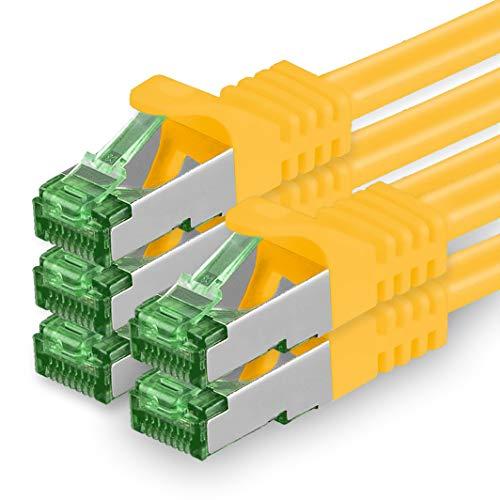 1aTTack.de Cat7 Netzwerkkabel 624136 Cat 7 Netzwerk Kabel 0,25m Gelb 5 Stück Cat.7 LAN Kabel Rohkabel 10 Gb s SFTP PIMF LSZH Set Patchkabel mit Rj45 Stecker Cat.6a 5 x 0,25 Meter Gelb