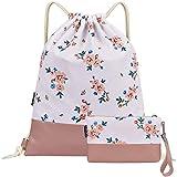LIVACASA Drawstring Bags Gym Bag for Women Gym Sack with Pockets Drawstring Bag for Girls Light Flower Pink