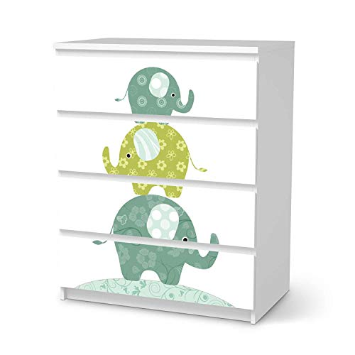 creatisto Wandtattoo Möbel für Kinder - passend für IKEA Malm Kommode 4 Schubladen I Tolle Möbelaufkleber für Kinder-Zimmer Deko I Design: Elephants