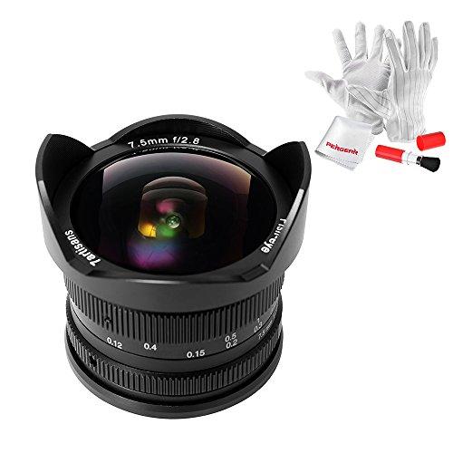 7artisans 7.5mm F2.8 Fisheye Manuelle Objective für Olympus Panasonic MFT M4/3 Kamera Sowie Panasonic GH3 GH4 GF1 GM1 GM5 Olympus E-M1 E-M5 E-M10 mit Pergear Reinigung Set
