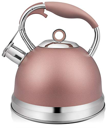 RETTBERG Tea Kettle for Stove Top,2 Quart Food Grade Stainless Steel Whistling TeaPot With Anti-hot silicone handle (Champagne Pink)