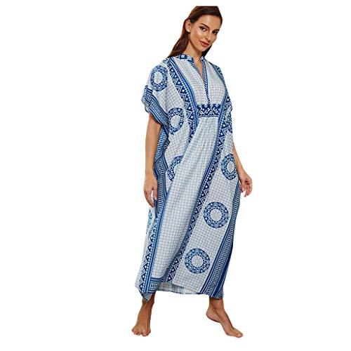 Vestido Largo de Playa Mujer Verano Traje de Baño Bohemio Maxi Caftán Túnica Talla Grande Pareos de Dormir Mujeres caftán de túnica Kimono Libre tamaño Largo Vestido de Fiesta para Loungewear