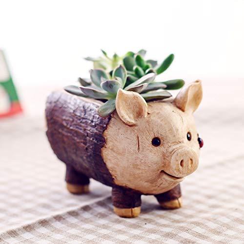 JEOSNDE Mini Interior de la Maceta Lindo del Cerdo de Madera Jardineras Pila Forma Plantas suculentas decoración de la Resina de Escritorio