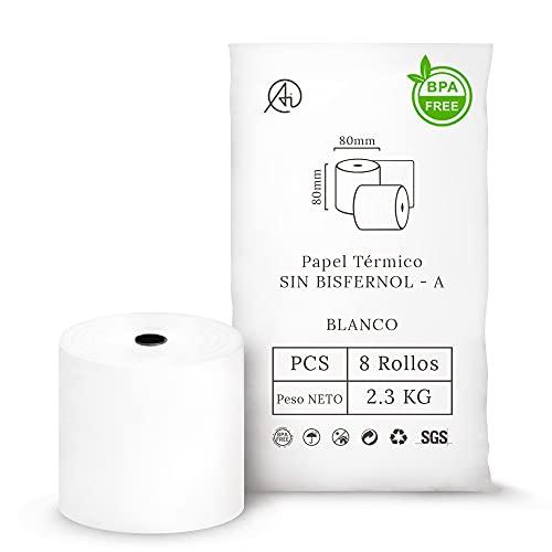 AITECH 24 Rollos Papel Termico 80x80 Sin Bisfenol A (Sin BPA) Para Impresora de ticket TPV Tienda de Ropa, Restaurantes