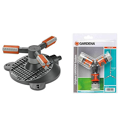 Gardena Comfort Kreisregner Mambo: Rasensprenger & Abzweig-Satz für 13 mm (1/2 Zoll)- und 15 mm (5/8 Zoll)-Wasserschläuche: Wasserdichter Abzweig-Verbinder