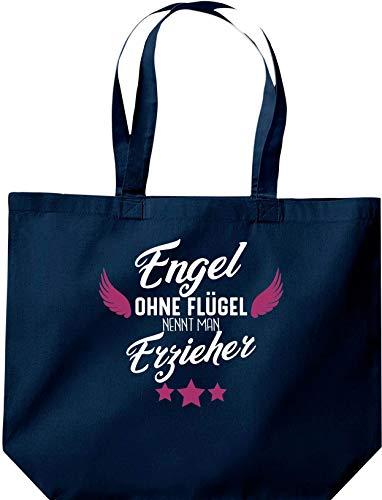 Shirtstown, sacchetto con scritta in lingua tedesca 'Engel ohne Flügel nennt man Ereerer', con logo e scritta in lingua tedesca, Blu (Blu), 35 cm x 39 cm x 13 cm