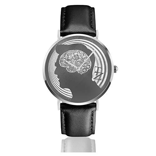 Unisex Business Casual Dimension of Mind Twilight Zone Uhren Quarz Leder Armbanduhr mit schwarzem Lederband für Männer und Frauen Young Collection Geschenk