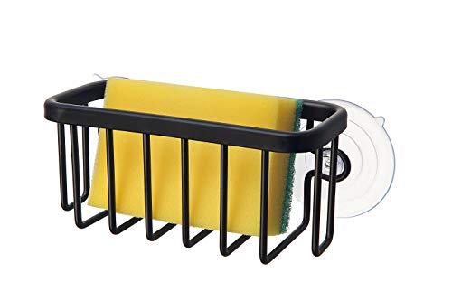 "SunnyPoint NeverRust Kitchen Sink Suction Holder for Sponges, Scrubbers, Soap, Kitchen, Bathroom, 6"" x 2.5"" x 2.75"", Aluminum (BLACK, 1)"