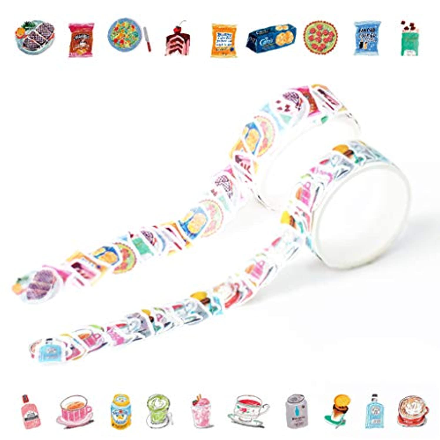 Yubbaex Floral Washi Tape Stickers Set Collage Petal Decorative Tape for Arts, DIY Crafts, Bullet Journal Supplies, Planners, Scrapbooking, Wrapping -2 Rolls/200 Pcs- (Appetite)