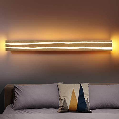 ZMH Holz Wandleuchte LED 16W 100CM Wandleuchte innen Holz Nachtlampe Nachtlampe warmweiß für Schlafzimmer Flur Treppe Innenbeleuchtung