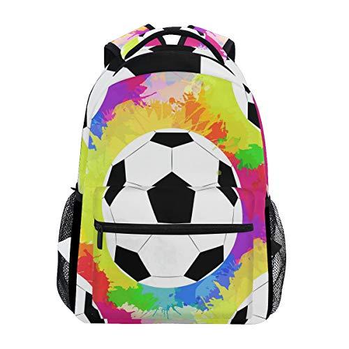 WXLIFE Rainbow Sport Soccer Ball Backpack Travel School Shoulder Bag for Kids Boys Girls Women Men
