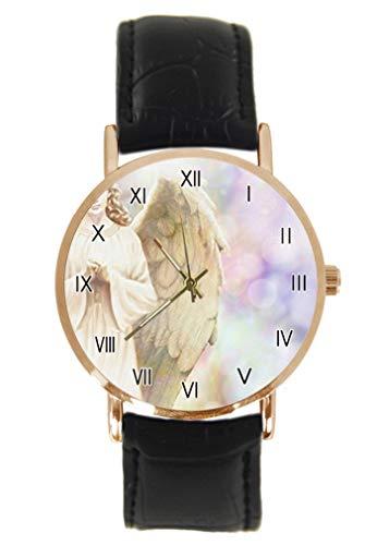 Traditionelle Engel mit Flügeln auf Weltraum Armbanduhr Mode Klassisch Unisex Analog Quarz Edelstahlgehäuse Lederarmband Uhren