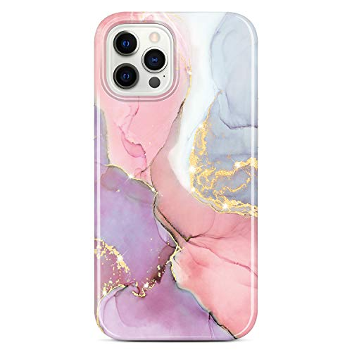 JIAXIUFEN - Custodia in silicone TPU per iPhone 12 e iPhone 12 Pro Marble Slim antiurto in morbida gomma TPU per telefono 6,1 pollici, colore: Rosa viola