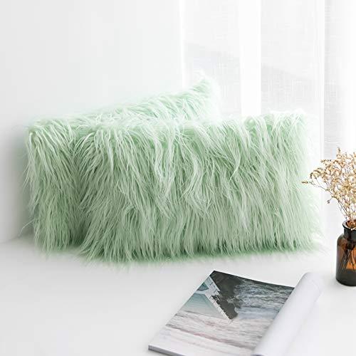 MIULEE Juego de 2 Funda de Almohada Cojines de Piel Decorativos Cuadrados y Suaves Cojines PeloPara la Decoración del Hogar Sofá Cama del12x20 Inch 30 x 50 cm Verde Claro