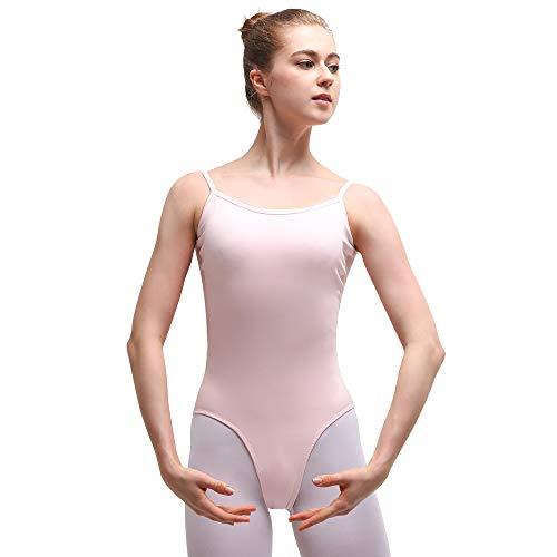 Bezioner Ballett Trikot Damen Ballettanzug Spaghetti-Träger Ballettkleid Mesh Gymnastikanzug Rosa XL