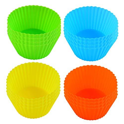 16 Stück Cupcake-Formen, Muffin Förmchen Papier, Backformen aus silikon Wiederverwendbare BPA-frei - Cupcakeförmchen für Kuchen, Eincreme und Pudding(Mehrere Farben)