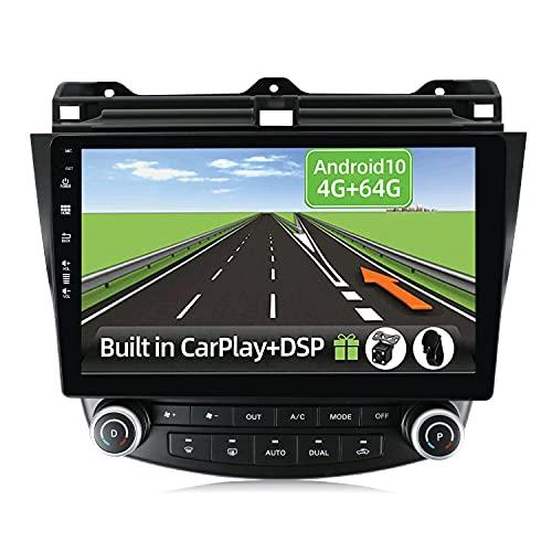 YUNTX Android 10 2 DIN Autoradio Fit for Honda Accord (2003-2007)-4G+64G- [Integrado CarPlay/Android Auto/DSP/GPS]-8 Core-4 LED Cámara&Mic-Soporte Dab/Control del Volante/Arranque rápido/BT 5.0