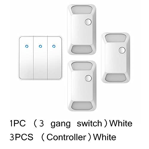 Interruptor inalámbrico Smart Push 433 MHz 300 m mando a distancia RF 100 V-240 V CA 2000 W teclas de tono de pared lámpara de techo W 3 velocidades 3 receptores _ China