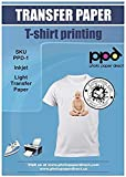 "PPD Inkjet Premium Iron-On Light T Shirt Transfers Paper LTR 8.5x11"" Pack of 40 Sheets (PPD001-40)"