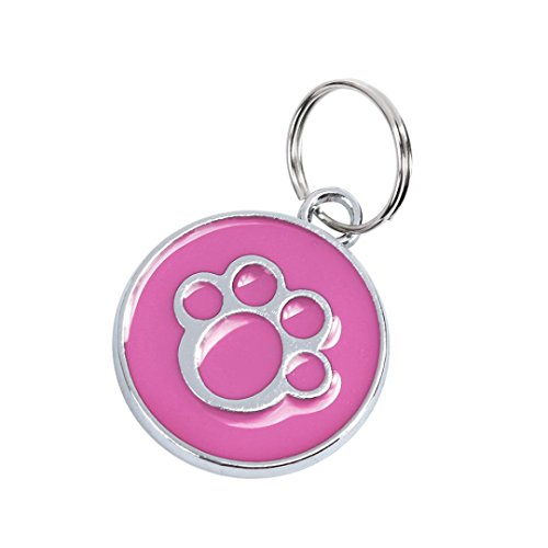 Neartime Stainless Steel with Enamel Round Pet ID Tags Various Designs and Colors (Pink, Diameter 25mm)