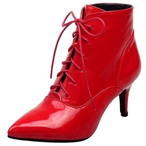 Garggi Kleid Stiefeletten Damen Pointed Toe Winter Stiletto Boots Schnüren Abend Party Warm Höhe Ferse Motorradstiefel Rot Gr 37 EU/38Asiatisch