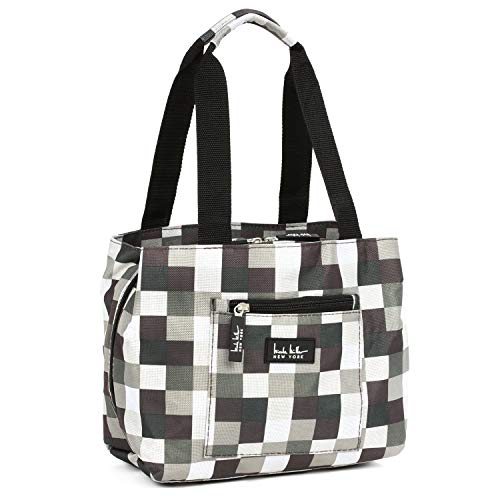 Nicole Miller Insulated Lunch Bag - 11' Womens Designer Lunch Tote Cooler (Plaid)