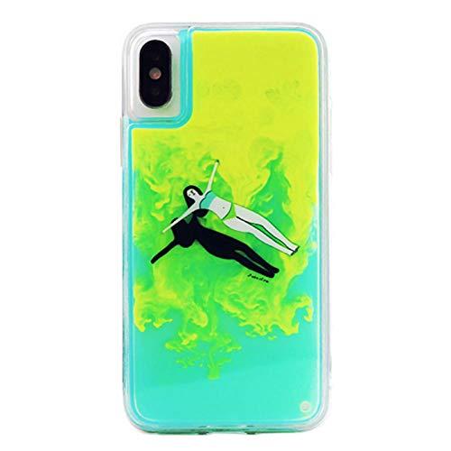 SGVAHY Capa fluorescente para iPhone XR, luxuosa capa traseira de policarbonato rígido de areia rápida e brilho luminoso de luxo + capa protetora macia de TPU à prova de choque para iPhone XR, iPhone XR, Girl Green