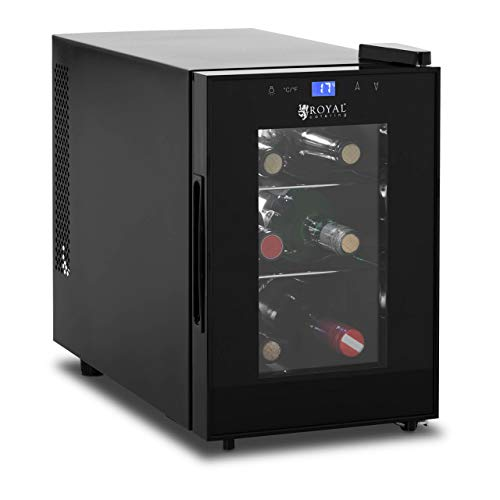 Royal Catering Nevera Para Vinos Refrigerador Vinoteca RCWI-20L (Negro, Volumen total: 13 L, Rango de temperatura: 8-18 °C, Para 6 botellas)