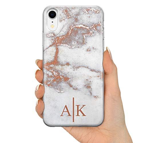 TULLUN Rose Gold Marmor Marble Personalisiert Name Initialen Monogramm Brauch Custom Soft Gel Silikon Schutzhülle Handy Hülle für iPhone - Initialen - für iPhone XS Max
