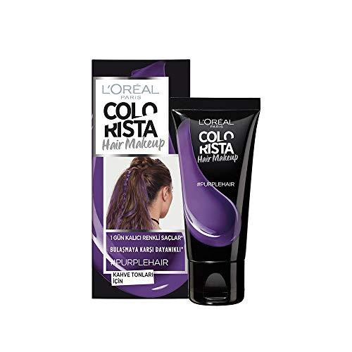L'Oreal Paris Hair Makeup Temporary 1-Day Hair Color for Brunettes, Purple, 1 Fl Oz