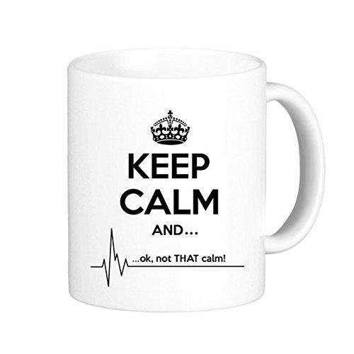 DIYthinker Cita Guarde La Calma Y Negro Divertido Corona Electrocardiograma Ilustrado Modelo Taza En Dos Colores Cerámica Cerámica Taza De La Leche del Café con Asas 350 Ml
