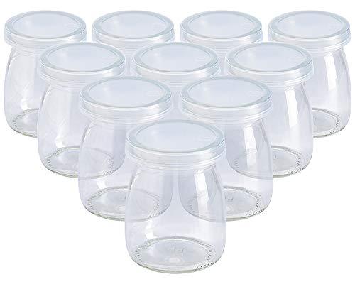 Tarros de Yogurt, ZoneYan Vasos Yogurtera, Vasos para Yogurtera con Tapa, Accesorios Yogurtera, Tarro Cristal Pequeño Hermetico, Set de Tarros de Cristal con Tapa