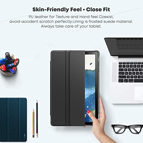 INFILAND Hülle für Samsung Galaxy Tab A7 2020, Transluzent TPU Schutzhülle Case für Samsung Galaxy Tab A7 10.4 Zoll (SM-T500/T505/T507) 2020, Auto Schlaf/Wach,Schwarz