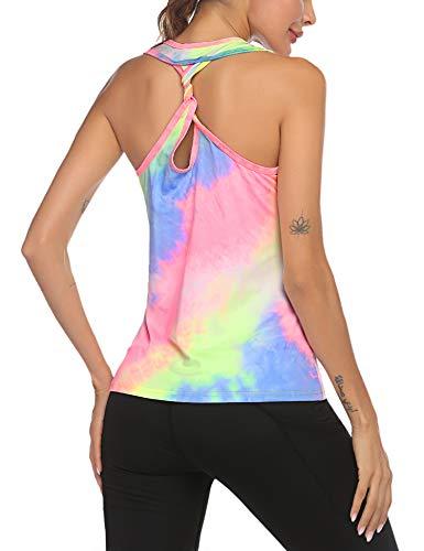 ADOME Women Crop Top 3D Print Gym Sleeveless Activewear Summer Tank Shirt Multicoloured 1 S