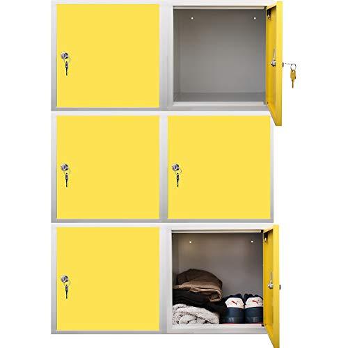 newpo Mega Deal | 6x Schließfachwürfel | HxBxT 35 x 35 x 35 cm | Gelb - Garderobe Schließfach Schließfachschrank Schließwürfel